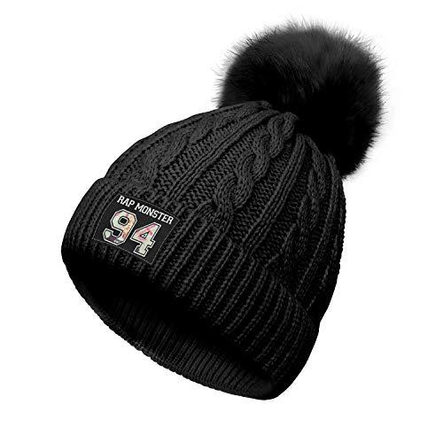 Yjbcvf BTS-Rap-Monster-94- Beanie Cap Knitted for Women Hip Hop Black Beanie Hats Multifunctional Headwear