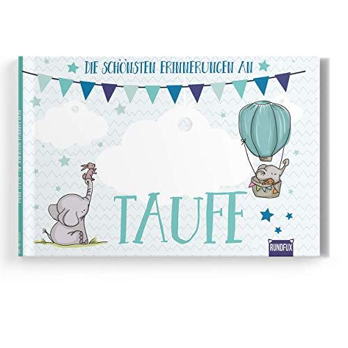 Taufalbum mit Engeln und Tieren mit personalisierbarem Buchcover für Jungen - Das persönliche Taufgeschenk von Eltern und Paten - Rundfux