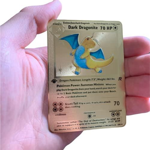 RULY Pokemon Dark Dragonite - Juego de cartas coleccionables de metal dorado de 1ª edición