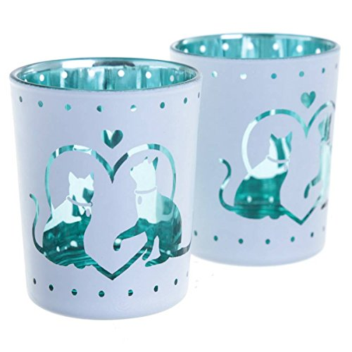 Glas Teelichthalter im 2er Set I Love My Cat