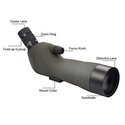 Feyachi Spotting Scope with Tripod,20-60x60AE Zoom Monocular Telescope with 45-Degree Angled Eyepiece for Bird Watching