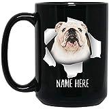 N\A Taza de café Negra Personalizada Divertida del Nombre de Encargo Blanco atigrado del Bulldog inglés