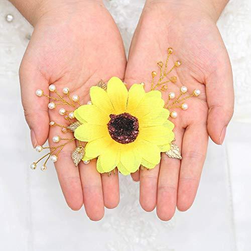 Zoestar - Peinetas para boda con diseño de girasol, color dorado