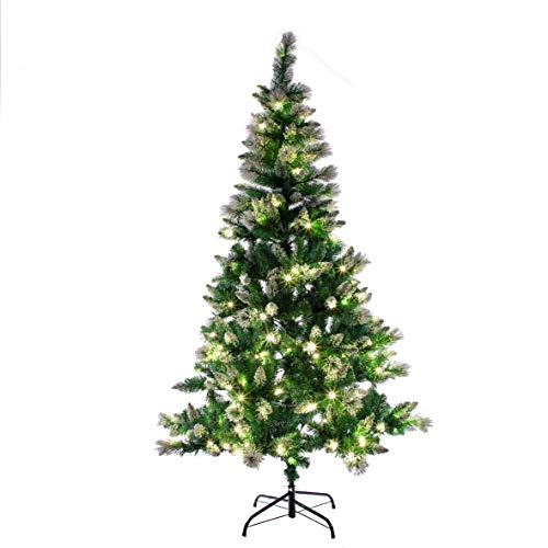 The Christmas Workshop 70809 6ft Pre-Lit Snow Tipped Christmas Tree   Artificial Indoor Decoration   560 Hanging Spaces & 180 LEDs   8 Separate Light Functions   Includes Folding Metal Stand, Green