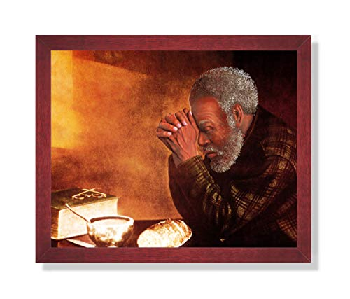 African American Black Man Praying at Dinner Table Daily Bread Religious Picture Framed Art Print
