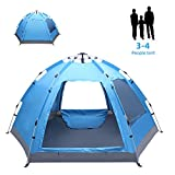 3-4 Person Family Tent for Camping, Waterproof Pop Up Tents, All Seasons Hiking Beach Outdoor Instant Tent, Blue