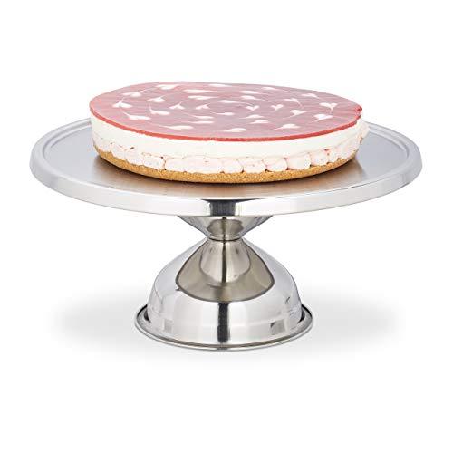 Relaxdays Tortenplatte, aus Edelstahl, rund, mit Fuß, zum Servieren & Dekorieren, Kuchenplatte, HxD: 15x32,5 cm, silber