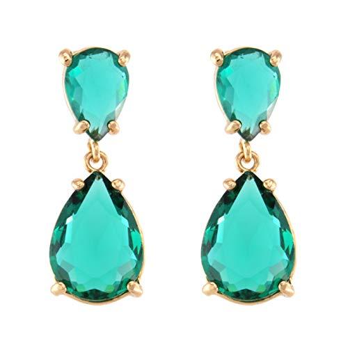 TEMPUS FUGIT. Pendientes Duo para mujer chapados en Oro, Antialérgicos, con cristales...