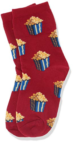 Hot Sox Girls Big Food Novelty Casual Crew Socks, Popcorn (Red), Large/X-Large Youth