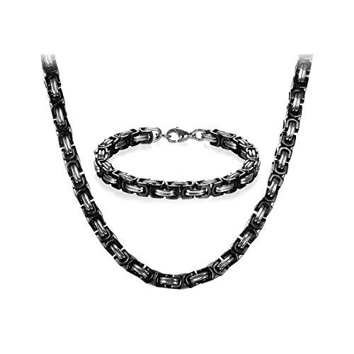 JewelryWe Schmuck Edelstahl Ketten Set von Halsketten und Armketten für Herren schwarz Silber Armbändern 8mm breit und 21,5 cm für Armband, 22 Zoll für Halskette