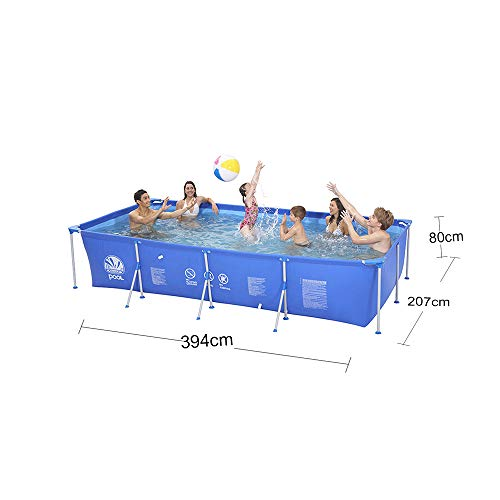 MJ-Inflatable swimming pool Piscina para Cuadros Familia Grande, Antideslizante, portátil, para Exteriores, Azul - 397 * 207 * 80cm