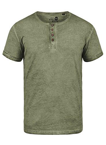!Solid Tihn Herren T-Shirt Kurzarm Shirt Mit Grandad-Ausschnitt Aus 100% Baumwolle, Größe:L, Farbe:Aloe (3612)