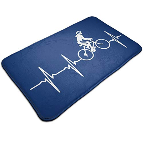 HUTTGIGH Alfombrilla antideslizante para puerta de baño con diseño de latidos de corazón, para bicicleta, para cocina, 40 x 80 cm, absorbente