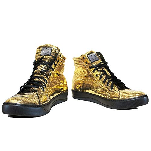 Modello Dyncollo - EU 44 - US 11 - UK 10-29 cm - Handgemachtes Italienisch Bunte Herrenschuhe Lederschuhe Herren Gold Mode Sneakers Lässige Schuhe - Rindsleder Lackleder - Schnüren