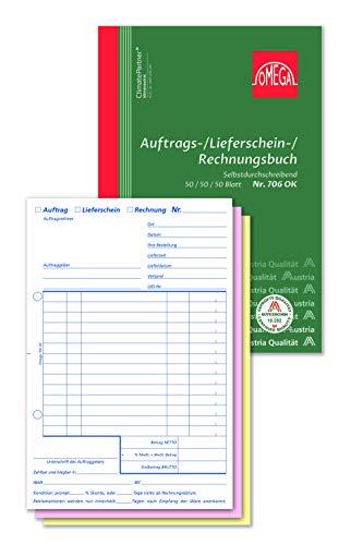 Omega Auftrags-/Lieferschein-/Rechnungsbuch 706 OK, SD, A5 hoch, 3 x 50 Blatt, weiß/rosa/gelb