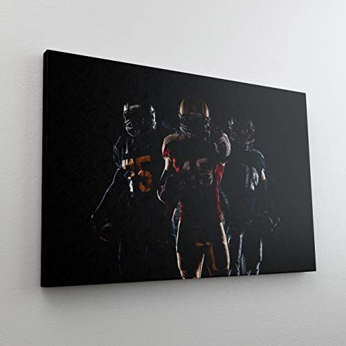 DesFoli American Football Spieler Leinwand Canvas-Bild Wandbild Kunstdruck L2982 Größe 100 cm x 70 cm