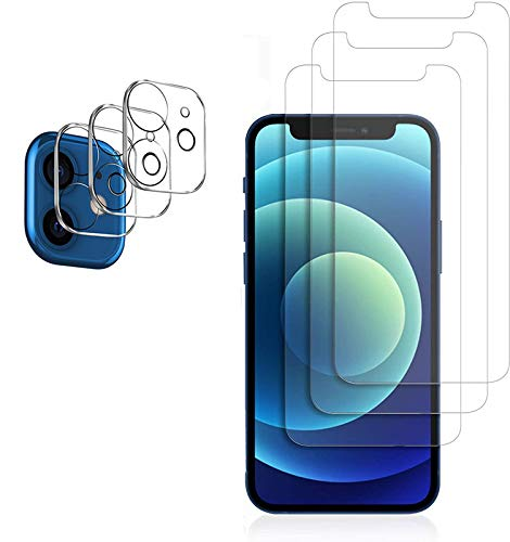 """[3 Pack] Tempered Glass Screen Protector Compatible iPhone 12 Mini 5.4"""" Screen Protector, [HD Clear][No Bubble] Case Friendly [Anti-Scratch] Screen Protector with 12 Mini Camera Lens Protector"""