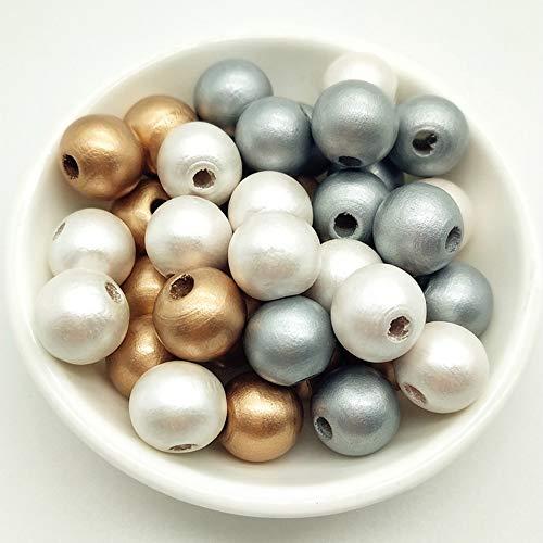 300 stuks houten ballen met gat houten kralen natuurlijke ronde houten kralen knutselkralen met gat voor doe-het-zelf sieraden maken handwerk ketting armband 12mm