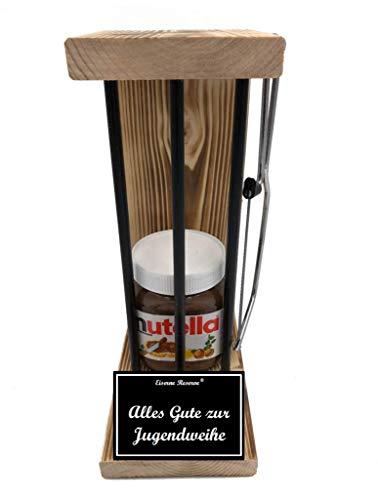 Alles Gute zur Jugendweihe - Eiserne Reserve ® Black Edition mit Nutella incl. Säge zum zersägen der Stäbe - Die lustige Geschenkidee - Geschenk