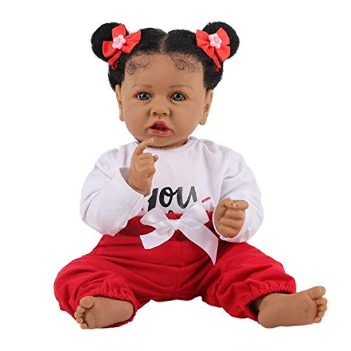 H.aetn 22inch 55cm Reborn Baby Dolls Real Look Realistic Full Silicone Body Baby Girl Doll Black Toddler Baby Boy Doll Toy Navidad Regalo de cumpleaños de Navidad (8#, Brown Eyes)