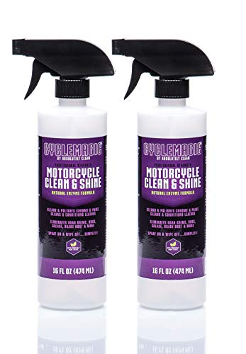 CycleMagic Motorcycle Clean and Shine - Motorcycle Cleaner & Conditioner | Chrome, Leather, Paint & More | Eliminates Bugs, Brake Dust, Dirt & Debris | USA Made (16oz Spray Bottle 2pack (Save 25%))