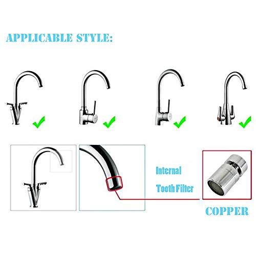 Internal and External Thread Kitchen Sink Aerator - Angle Swivel Faucet Aerator Sprayer - All Bronze - Set of 2
