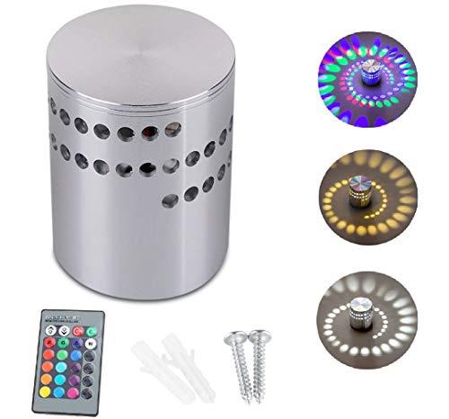 Eamplest 3W LED Wandleuchte, Wandlampe Dimmbar Innen RGB Wandlicht Deckenleuchte Effektlicht Aluminium Wandlampe Badlampe Flurlampe Spirale Effek [Energieklasse A+] (1 Stück)