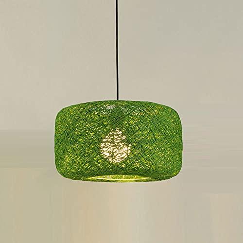 CSSYKV Lámpara de araña china hecha a mano, de ratán, moderna, creativa, color ratán, decoración colgante, restaurante, bar, lámpara de iluminación decorativa E27, cabezal único, ajustable