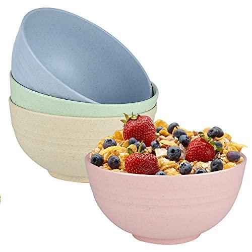 hombrima Tazones grandes para cereales, paquete de 4 tazones de sopa irrompibles para adultos, niños, niños pequeños, aptos para lavavajillas y microondas, sin BPA