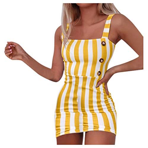 UFODB Kleider Damen Sexy Schulterfrei Gestreiftes Slim Fit Sommerkleid Brautkleid Minikleid Strandkleid Abendkleider Partykleid Faltenrock Skaterkleid Abschlusskleid (M, Gelb)