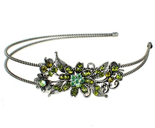 Unbekannt Strass Chrystal Blumen Haarreif Hochzeit Blumenmädchen Haar Reifen Grün Silber