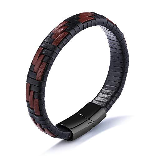 YINGLAN 2 Stück /Schwarz Und Braun Textil Herren Leder Armband Titan Stahl Armband Accessoires,Valentinstag Geburtstagsgeschenk