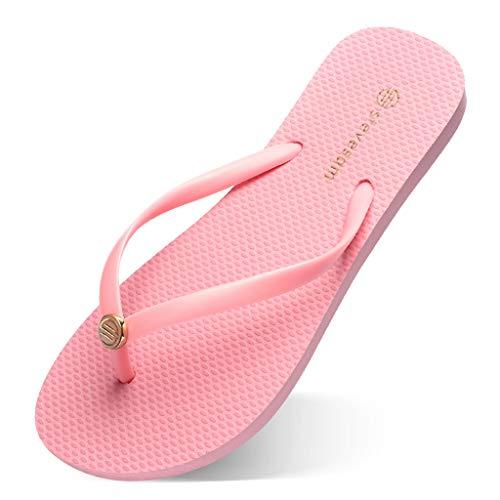 Gwxevce Damen Sandalen mit flachem Absatz Candy Color Flip Flops Strand rutschfeste Tanga Hausschuhe Pink