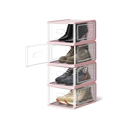 Zapateros Cajas de almacenamiento de zapatos transparentes (5 paquetes) Organizadores de almacenamiento de zapatos apilables Guardar espacio Plastic Shoe Rack Standing Storage Organizador Zapateros Al