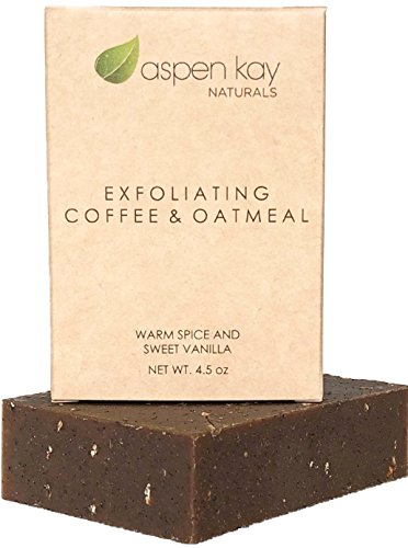 Coffee & Oatmeal Exfoliating Soap, Natural and Organic Soap. With Organic Skin Loving Oil. A Wonderful Exfoliating Body Soap, For Men & Women. GMO Free. 4 oz Bar.