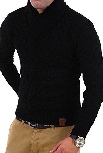 Tazzio Strick-Pullover, mit Schalkragen, 3500 Gr. L, schwarz