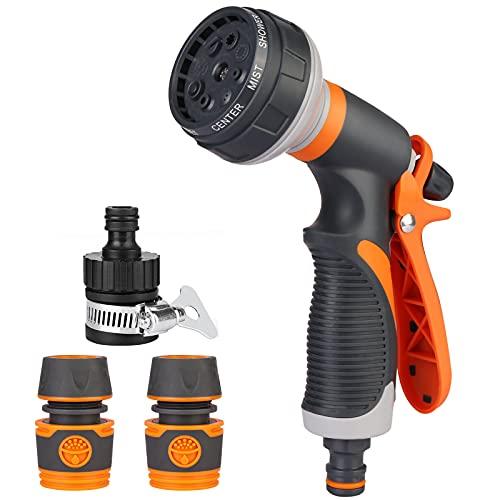 Pistola de Riego, Pistola de agua de jardín, HIBOER con 8 modos de ajustable pulverización,Pistola de Manguera Alta Presión,para riego de jardín,lavado de coches,baño de mascotas,limpieza de aceras