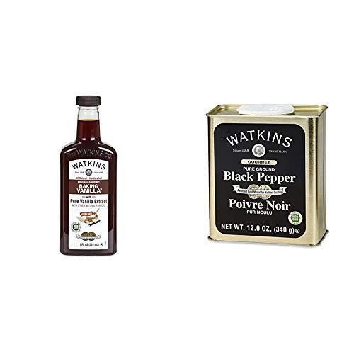 Watkins All Natural Original Gourmet Baking Vanilla, with Pure Vanilla Extract, 11 ounces Bottle, 1 Count (Packaging May Vary) & Gourmet Spice Tin, Pure Ground Black Pepper, 12 oz. Tin, 1 Count