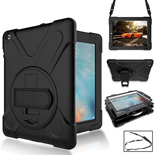 G-rf Tablet Hoezen 360 graden draaien Silicone beschermhoes met houder en polsriem en lange riem for iPad 5 / iPad Air (Red) (Color : Black)