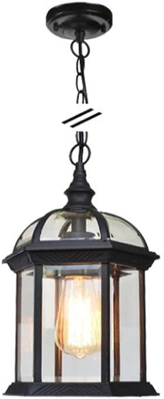 Outdoor-Kronleuchter Garten Hof Lampe Auenansicht Traube Wasserdicht E27 Deckenpendelleuchte Vogelkfig Hngelampe American Retro Vintage Classic Pendelleuchte (Farbe  schwarz-S-Chandelier)