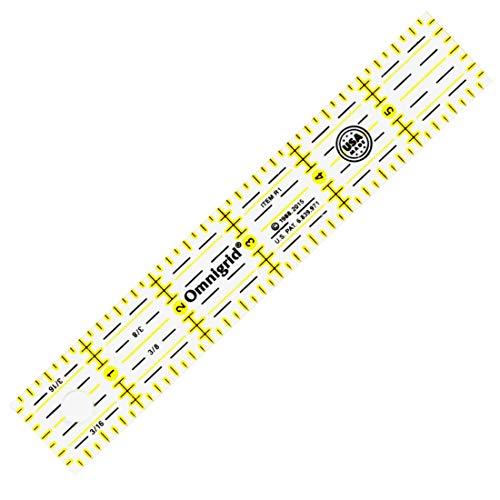 """Omnigrid 1 X 6 R1 1 6-Inch Ruler, 1"""" x 6"""", Yellow"""