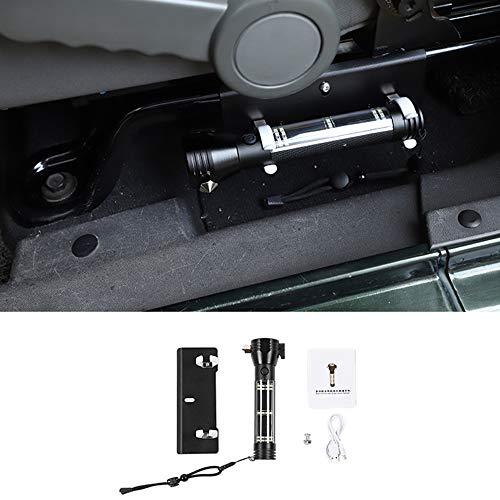 WXQYR Car Solar Escape Rescue Accessori per Jeep Wrangler JK JL 2007-2018 Torcia Multifunzione Safety Hammer