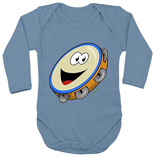 Hariz - Body de manga larga para beb con pandereta sonriente, tarjeta de regalo, azul claro 74-80