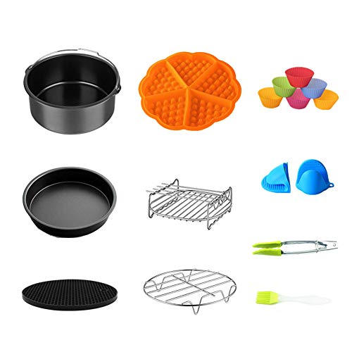 Air-Fritteusen-Zubehör-Set mit Backblech, Pizza-Pfanne, Grillständer, antihaftbeschichtet, Untersetzer, Lebensmittelzange für 17,8 cm Backen, 10 Stück