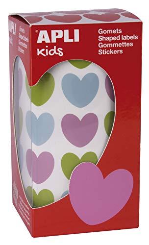 APLI Kids 16796-Rollo gomets corazones 20 x 18 mm colores surtidos