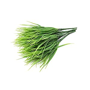 LAVOGUE Artificial Plants Green Grass,7 Forks/Bundle Plastic Flowers Wedding Spring Summer Living Room Christmas Home Decorations-Green