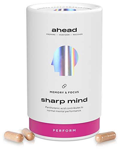 ahead SHARP MIND | Effektiver Brain Booster* mit B5 und B12 für Konzentration und Gedächtnis* | Mit CDP Cholin, Phosphatidylserin und Brahmi - OHNE Koffein | 90 Kapseln