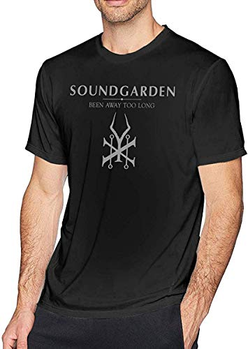 SASJOD Camisetas Sound-Garden Men's Comfort Short Sleeve T-Shirt Black