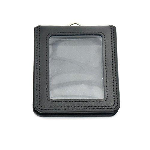 fujiyuan 1Pc Office schwarz Ausweishalter Badge echtem Leder Unisex Fashion Compact Horizontal Vertikal, schwarz