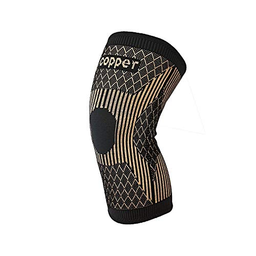 Copper Knee Brace -Copper Knee Sleeve Compression For Sports,Workout,Arthritis Pain Relief and Support-Single (L)